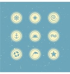 set of retro marine icons vector image