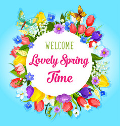 Spring time flowers greeting poster vector
