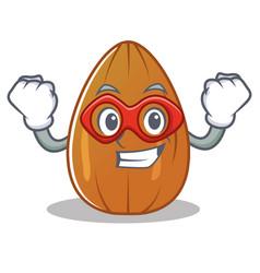 super hero almond nut character cartoon vector image