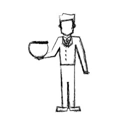 Vet man with empty bowl fish sketch vector