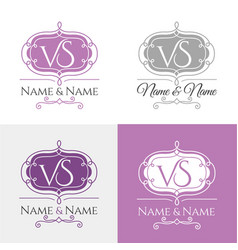 Wedding logo1 calligraphic ornament vector