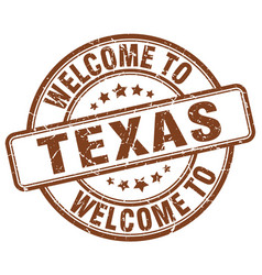 Welcome to texas brown round vintage stamp vector