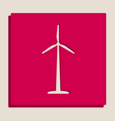 Wind turbine logo or sign grayscale vector