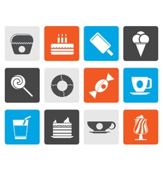 Flat sweet food and confectionery icons vector