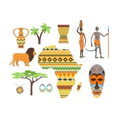 Africa symbols and travel set vector