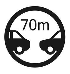 Minimum distance 70m sign line icon vector