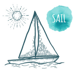 Sail drawing on white background hand drawn vector