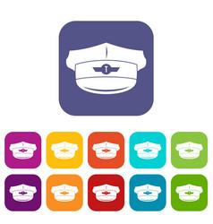 Cap taxi driver icons set vector