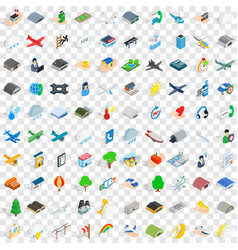 100 aviation icons set isometric 3d style vector