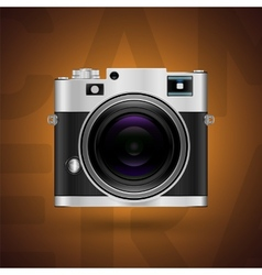 Classic camera icon on brown background vector