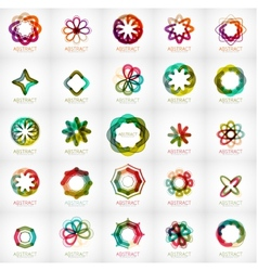 Set of abstract star flower shape logos vector image