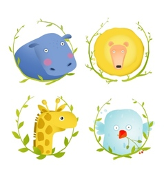 African animals fun cartoon portraits with wreath vector