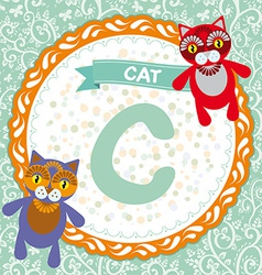Abc animals c is cat childrens english alphabet vector