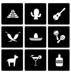 Black mexico icon set vector