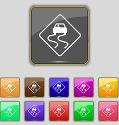 Road slippery icon sign set with eleven colored vector