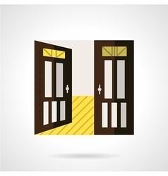 Flat brown open door icon vector