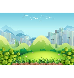 Nature scene with buildings in the background vector
