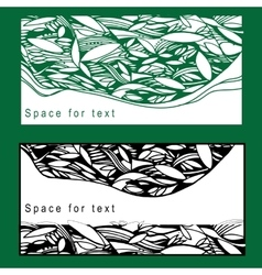 Set postcard with foliage for vector