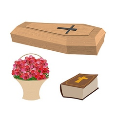 Set funeral coffin and bible basket of flowers for vector