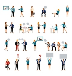 Flat style business people figures icons vector