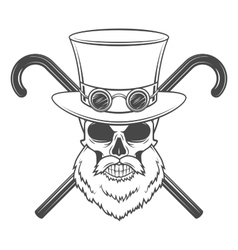 Old bearded steampunk gentleman skull with goggles vector