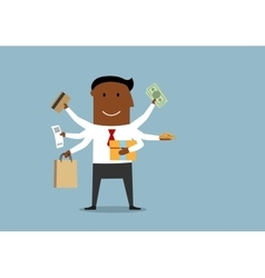 Happy multitasking man with shopping items vector