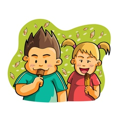 Kids eating ice cream vector