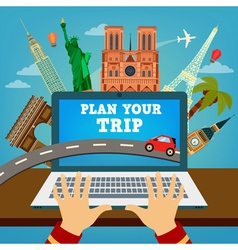 Travel banner vacation planning travel technology vector