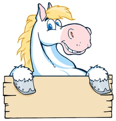 White horse looking over a blank wood sign vector