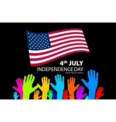 Silhouettes of people holding the flag of usa vector