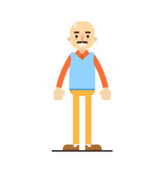 Adult bald man with mustache character vector