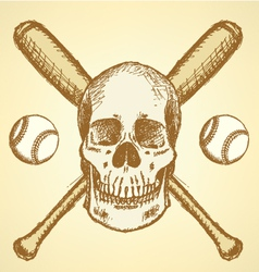 Baseball Bat Ball Scull vector image vector image