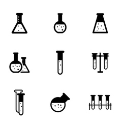 Black chemistry icon set vector