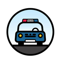 Blue police car front view vector