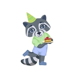 Boy raccoon with birthday cake vector