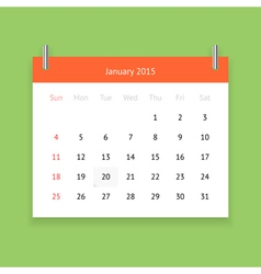 Calendar page for january 2015 vector