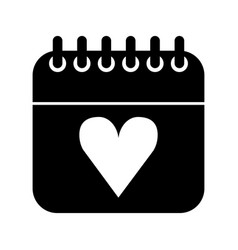 calendar with heart icon vector image