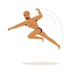 cartoon character of wrestler in flying jump kick vector image vector image