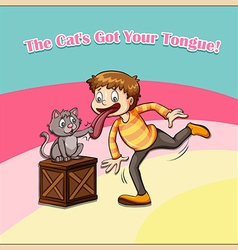 Cat got your tongue vector image vector image