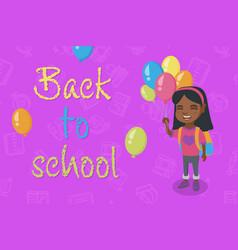 caucasian schoolgirl with the bunch of balloons vector image
