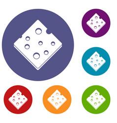 Cheese fresh block icons set vector