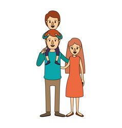 Color image caricature family mother and father vector