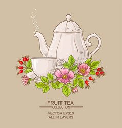 Cup of dog rose tea and teapot vector