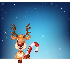 Cute deer holding blank sign and Christmas candy vector image vector image