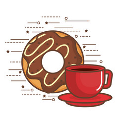 donut and coffee design vector image