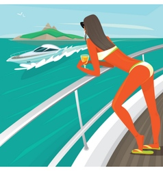 Girl in a swimsuit sunbathes standing on yacht vector