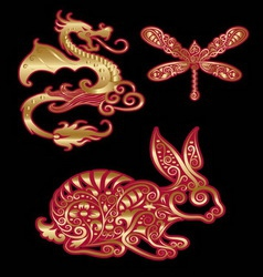 Golden animal ornament dragon dragonfly rabbit vector