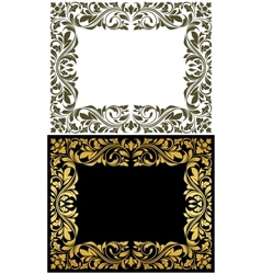 Golden frame with decorative floral elements vector image vector image