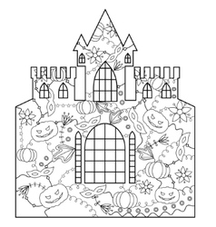 Halloween castle coloring vector