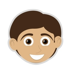 Happy boy with tan skin icon vector